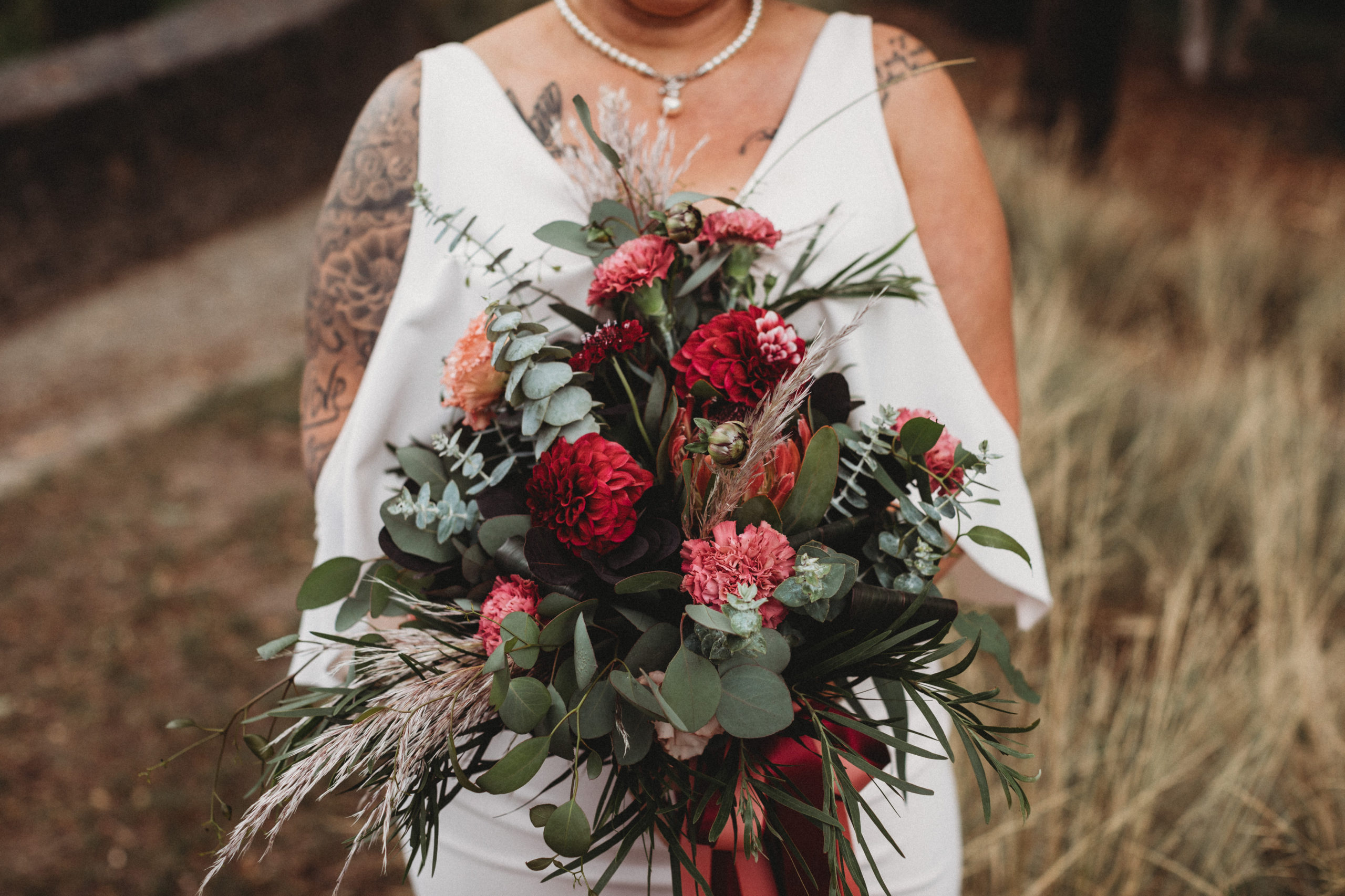 Bride holding bouqet