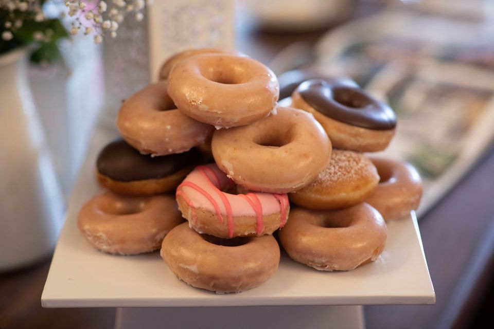 Donut tower at a wedding reception