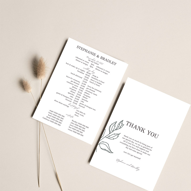Wedding timeline design template